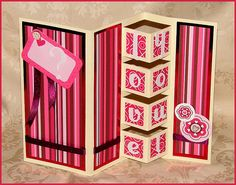 handmade Valentine card ... fancy fold ... die cut LOVE on pop up section ... bright and pretty patterned papers ...