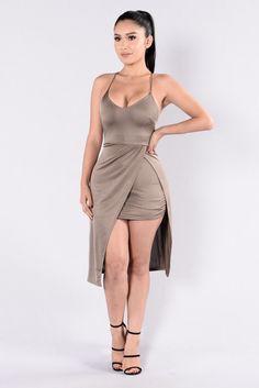 - Available in Bronze - Mini Dress - Asymmetrical Hem - Adjustable Spaghetti Straps - X Back - Overlay Bottom - Made in USA - 96% Polyester 4% Spandex