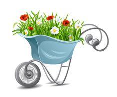 carrinho de flor dos desenhos animados