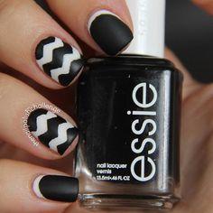 Matte, Black and White Chevron Nails