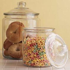 Glass Storage Jars, Glass Jars With Lids, Food Storage Containers, Jar Storage, Glass Canisters, Storage Ideas, Kitchen Jars, Diy Kitchen Decor, Kitchen Ideas
