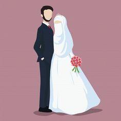 İslamic anime ve tesettür couple animasi - wedding couple Bride And Groom Cartoon, Wedding Couple Cartoon, Wedding Illustration, Couple Illustration, Cute Muslim Couples, Cute Couples, Muslim Couple Photography, Muslimah Wedding, Islam Marriage