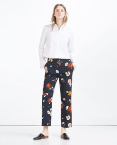 Image 1 of CROPPED WIDE-LEG TROUSERS from Zara