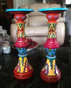 "Hand Painted Bohemian Ceramic Decorative Set of Candle Holders 5""Wx12""Hx5""D Orange by NanabugsTreasures on Etsy"