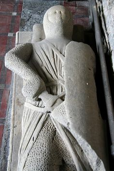 Late 13th C knight in All Saints' church in Goxhill, Lincolnshire. Unidentified, but of the right era to be Sir Ralph of Goxhill. Don't know for sure, but it could be him. (Ralph d. before 30 August 1294.)