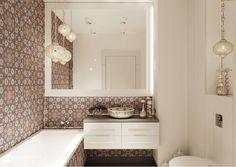 Moroccan tiles in the bathroom Home Design, Modern Design, Italia Design, Cute Dorm Rooms, Moroccan Tiles, Flat Interior, Interior Design, Mirror, Bathroom