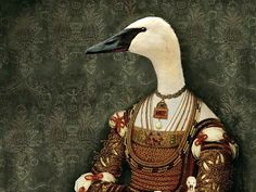 """Detail of """"Bianca"""" from LE GRAND THEATRE handmade rectangular tray by Rachel Convers, anthropomorphic swan in dress."""