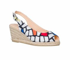 """Desigual Summer Shoes """"Tierra"""", Stunning white espadrilles shoes in black, red and orange geometrical design, medium wedge. White Espadrilles, Espadrille Shoes, Sandals, Gaudi, Summer Shoes, Wedges, Black And White, Boots, Sneakers"""