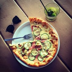 Pizza tartufo cotto at Ftelia restaurant.