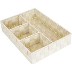 Home Basics 4 Compartment Woven Organizer Fabric Underbed Storage Color: Ivory, Size: H x W x D