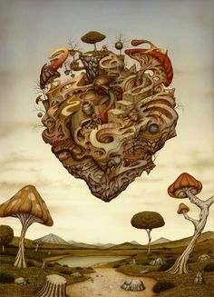A-trippy-heart-made-out-of-mushrooms-floats-in-this-surrealist-painting-by-Nato-Hattori.jpg 504×700 pixels