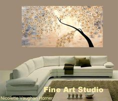 Original Contemporary modern impasto abstract art acrylic on canvas painting To view more of my unique signature art please click here www.etsy.com/shop/artmod  Title... Daydreaming Textured Dimensions: 60 x 36 x 1.5deep Ready to ship. Background color is shades of ivory,blush,grays,with thick white impasto blossoms kissed with antique gold.The metallic gold will shimmer and change color as the light source in your room changes color throughout the day.Looks great with direct lighti...