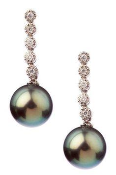 9-10mm Natural Black Tahitian Pearl Diamond Earrings by Pearl Jewelry on @HauteLook