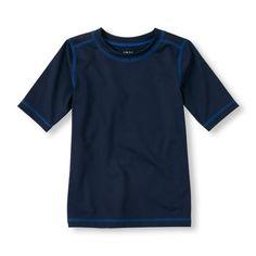 Boys Boys Short Sleeve Basic Rashguard - Blue - The Children's Place Boys Swimwear, Kids Swimming, Big Fashion, Rash Guard, Boy Shorts, Mens Tops, Shopping, Children's Place, Clothes