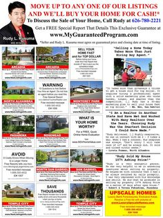 OWN A LARGER HOME BECAUSE I'LL BUY YOUR PRESENT ONE FOR CASH! Your Present Home is Guaranteed to Sell Before You Take Possession of Your next One. Get a Free Special Report Detailing this Exclusive Guarantee - www.MyGuaranteedProgram.com Free recorded message 1-888-300-4632, enter ID# 1045 (talk to no one). Call 24 hours a day / 7 days a week. You don't have to talk to anyone. Just call our 24 hour voicemail system and leave your name and mailing address.