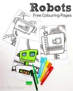 Free Robots Colouring Pages