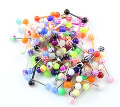 Amazon.com: Wholesale Lot of 100 Assorted 14G Mixed Tongue Rings Barbells: Jewelry