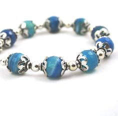 To The Sea . Blue Agate Bracelet . Sterling Silver . Stone Jewelry . Summer Jewelry