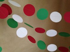 Red, White and Green Paper Garland Christmas Party Decor, Baby Shower, Photo Prop, Christmas Tree and Holiday Decor, Classroom Decor, Etc