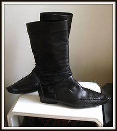 Bottes-Marithe-Francoise-Girbaud-cuir-noir-40-boots-vintage