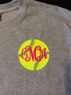 Softball monogram tshirt with cute softball by FluffyPinkFlamingo