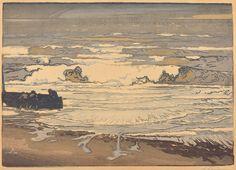 Auguste Lepere: Unfurled Waves, Flood of September 1901 (Les lames deferlent,maree de Septembre 1901). Color woodcut.