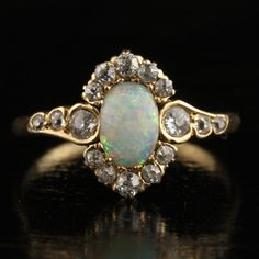 Art Nouveau Opal, Diamond, and Gold Halo Ring, ca. 1890-1910 #manchesterwarehouse
