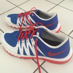 Men's NIKEiD FlyWire Free 5.0 Trainer Men's NIKEID FlyWire Free Trainer Custom Designed Sneaker 5.0 in size US 10.  The base is cobalt blue with red and white detail.  Red laces.  Lightweight and great for weightlifting.   Have only been worn 1x, in excellent condition.   NIKEiD Shoes Sneakers