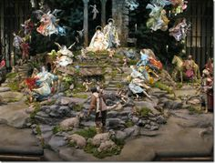 Christmas Manger / Crèche de Noel : Displaying your manger scene -This presepio is erected every year at New York City's Metropolitan Museum of Art as part of its Christmas tree display, and this is only a small section of it. December 2008