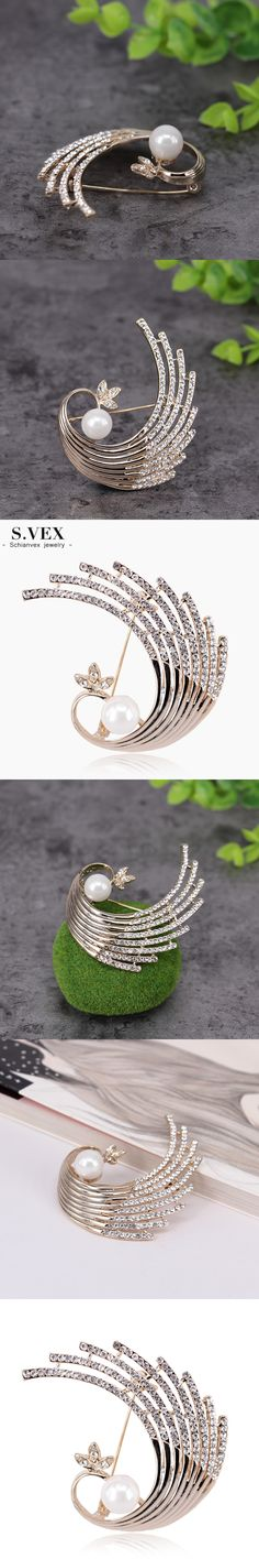 S.VEX 2017 New Peacock Crystal Brooches Fashion Simulated Pearl Animal Brooch Pins For Women Jewelry Party Gift BR17D040