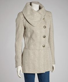 Take a look at this kensie Oatmeal Asymmetrical Herringbone Coat - Women on zulily today!