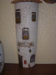 Teja alcontraio con pintura craquelada y tecnica de la servilleta