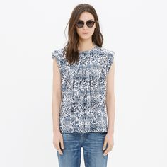 Silk Garden Top in Porcelain Floral : blouses | Madewell