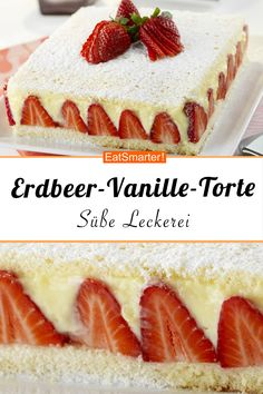 Strawberry and vanilla cake- Erdbeer-Vanille-Torte Strawberry time is simply the best time! Because then you can bake sweet desserts like this strawberry-vanilla cake! Strawberry Vanilla Cake, Strawberry Recipes, Easy Cake Recipes, Sweet Recipes, Dessert Recipes, Torte Au Chocolat, Bon Dessert, Ice Cream Recipes, Food Cakes