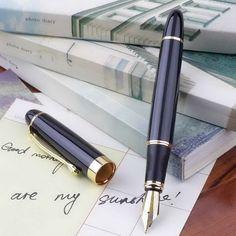 Jinhao X450 Fountain Pen Black Mordern Medium Nib Gold Trim New Perfect UL