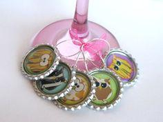 Owl Wine Glass Charm Bottle Cap Wine Glass Charm by LadyInPurple, $9.95