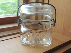 Antique Atlas Good Luck Canning Mason Preserve Jar glass