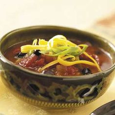 Spicy Three-Bean Chili    Even your meat-loving family will devour this hearty meatless chili.