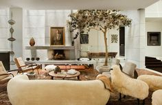 2 Top Designers Decorated One Amazing Home// Clements design, indoor tree, eclectic design, marble walls
