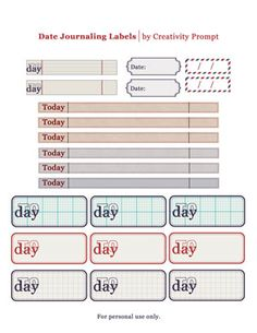 Date Journaling Labels - Nice printables to record the date on journal entries.