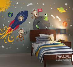 Monkey Wall Decal Rocket ship alien planet space astro