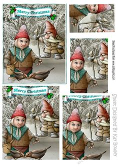 The bird feeder gnome in the snow! pyramids makes a lovely christmas card, can be seen in other designs, also in A5 & A5