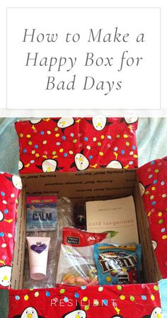 Sometimes when we have a bad day it would be nice if we could just pull out a box of all our favorite things that make us happy so we can smile again. :) I got the idea to make a happy box one summer before I moved out to my own place so I would be prepared for living on my own in case the inevitable bad day ever struck. Here