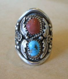Vintage NAVAJO Sterling Silver TURQUOISE & CORAL Old Style RING size 9 3/4 | eBay