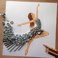 Creative Art / Funny Art ideas : Edgar Artis is an Armenian illustrator who uses a fascinating mix of paper cut outs and pencil drawings using everyday objects. This artist has a wonderful and Fashion Design Drawings, Fashion Sketches, Fashion Illustrations, Funny Drawings, Art Drawings, Arte Fashion, Paper Fashion, Dress Fashion, Style Fashion