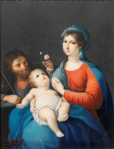 The Holy Family / La Sagrada Familia // 1803 // Castor González Velázquez y Tolosa // Museo del Prado // #ChildJesus #rose #VirginMary #SaintJoseph
