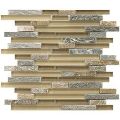 SomerTile Reflections Piano Suffolk Stone Glass Mosaic Tiles (5 Pack)