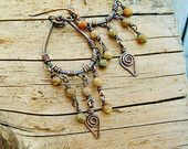 Falling Leaf - Autumn Jasper and antiqued copper wire wrapped teardrop hoops with stone beaded dangles