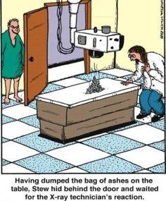 A little x-ray humor. This would be so funny. Cartoon Jokes, Funny Cartoons, Funny Comics, Science Cartoons, Radiology Humor, Medical Humor, Nurse Humor, Funny Medical, Jokes