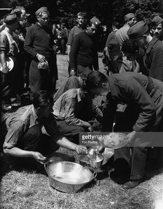 An army meal being served to Czech troops in the field.